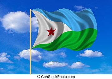 Flag of Djibouti waving on blue sky background