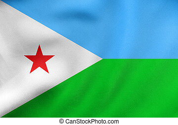 Flag of Djibouti waving, real fabric texture