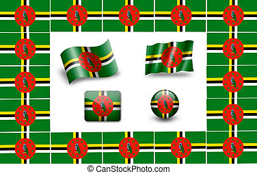 flag of Dominica. icon set