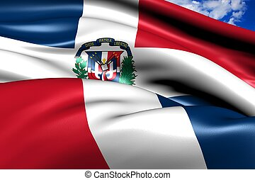 Flag of Dominican Republic against cloudy sky. Close up.