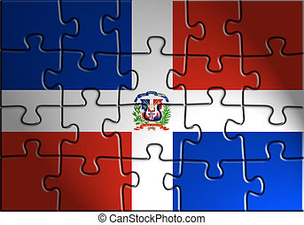 Flag of Dominican Republic, national country symbol...