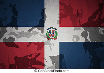 flag of dominican republic on the khaki texture . military concept