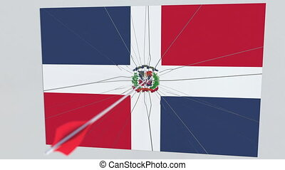 Flag of DOMINICAN REPUBLIC plate being hit by archery arrow. Conceptual 3D animation