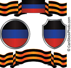 flag of donetsk republic and georgievsky ribbon