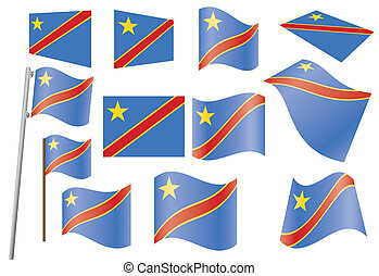 flag of DR Congo - set of flags of Democratic Republic of...