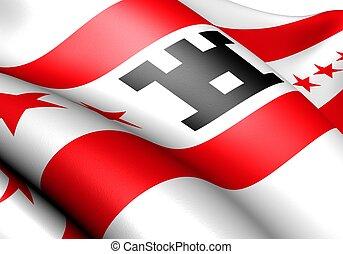 Flag of Drenthe, Netherlands. Close up.