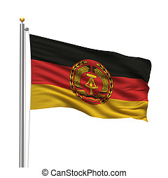 Flag of Eastern Germany with flag pole waving in the wind ...