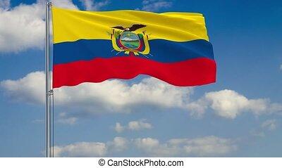 Flag of Ecuador against background of clouds sky