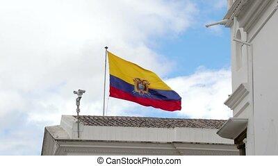 Flag of Ecuador in the wind