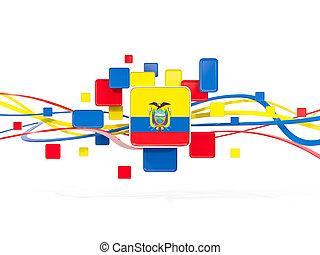 Flag of ecuador, mosaic background with lines