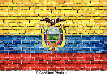 Flag of Ecuador on a brick wall