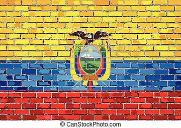 Flag of Ecuador on a brick wall