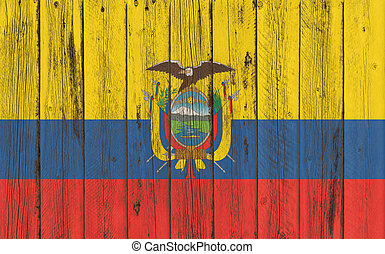 Flag of Ecuador painted on wooden frame