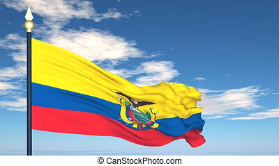 Flag Of Ecuador on the background of the sky and flying...