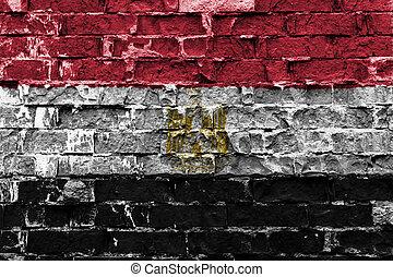 Flag of Egipt on brick wall
