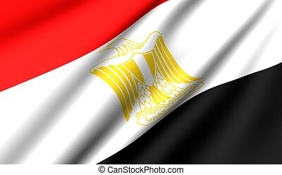 Flag of Egypt. Close up. Front view.