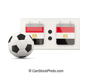 Flag of egypt, football with scoreboard