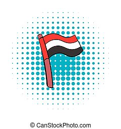 Flag of Egypt icon in comics style
