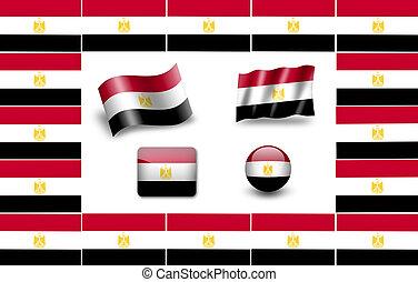 flag of Egypt. icon set