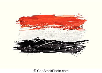 Flag of Egypt made with colorful splashes. Paint smears, grunge texture.