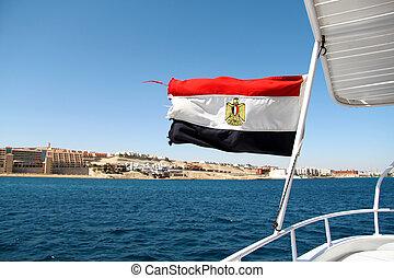Flag of Egypt on the ship