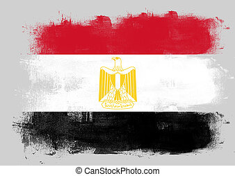 Flag of Egypt painted with brush