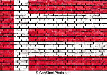 flag of Eindhoven painted on brick wall