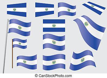 flag of El Salvador - set of flags of El Salvador