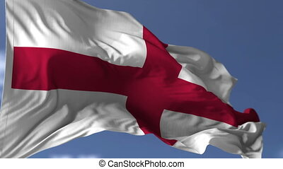 Flag of England blowing on the wind, close up looped...