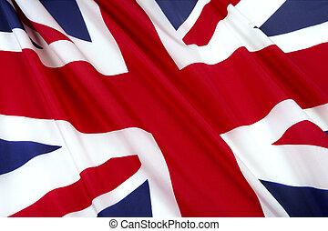 Flag of England - Close-up shot of wavy British flag
