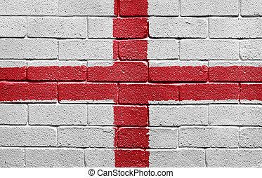 Flag of England on a brick wall