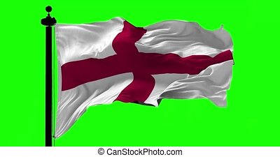 Flag of England on Green - Flag of England blowing on the...