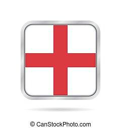 flag of England, shiny metallic gray square button