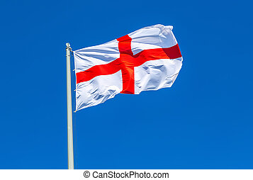 Flag of England waving in the wind against the sky