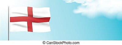Flag of England waving on a blue sky background.