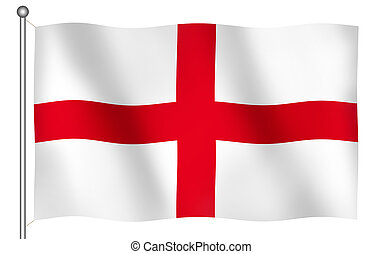 Flag of England's Saint George Waving (With Clipping Path)