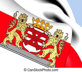 Flag of Enschede, Netherlands. Close Up.
