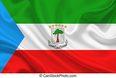 Flag of Equatorial Guinea country on wavy silk fabric background panorama