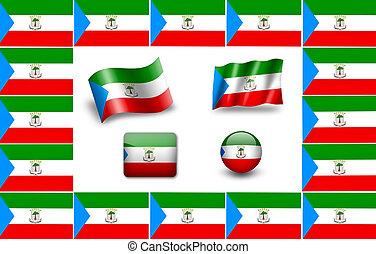 flag of Equatorial Guinea. icon set