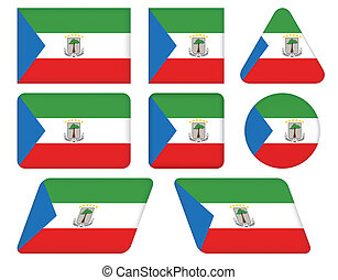 flag of Equatorial Guinea - set of buttons with flag of...