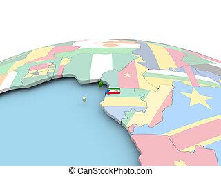 Flag of Equatorial Guinea on bright globe - Equatorial ...
