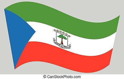 Flag of Equatorial Guinea waving, gray background - ...