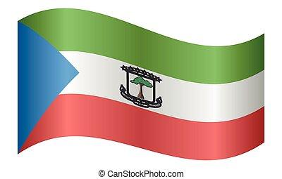 Flag of Equatorial Guinea waving, white background - ...
