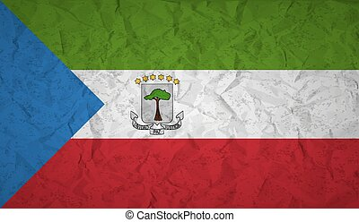 Flag of Equatorial Guinea with the effect of crumpled paper ...
