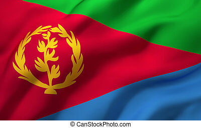 Flag of Eritrea blowing in the wind