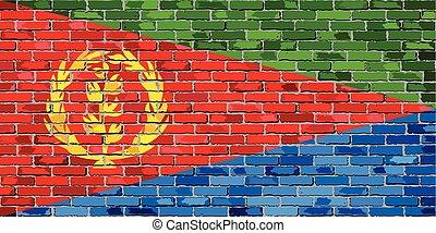 Flag of Eritrea on a brick wall