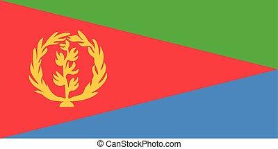 Flag of Eritrea. Vector illustration. World map