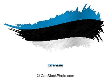 Flag of Estonia in grunge style with waving effect.