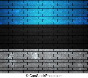 Flag of Estonia on Brick Wall