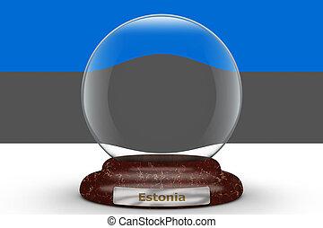 Flag of Estonia on snow globe
